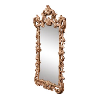 Mid-Century Italian Carved Wood Silver Leaf Mirror