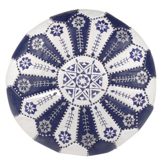 Embroidered Leather Pouf, Royal Blue/White Starburst Stitch