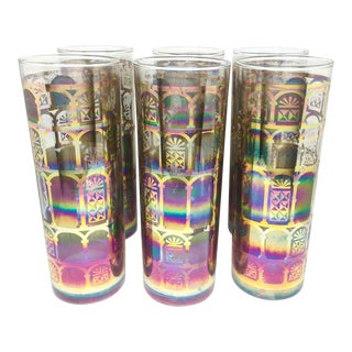 Vintage Iridescent Stained Glass Window Glasses - Set of 6