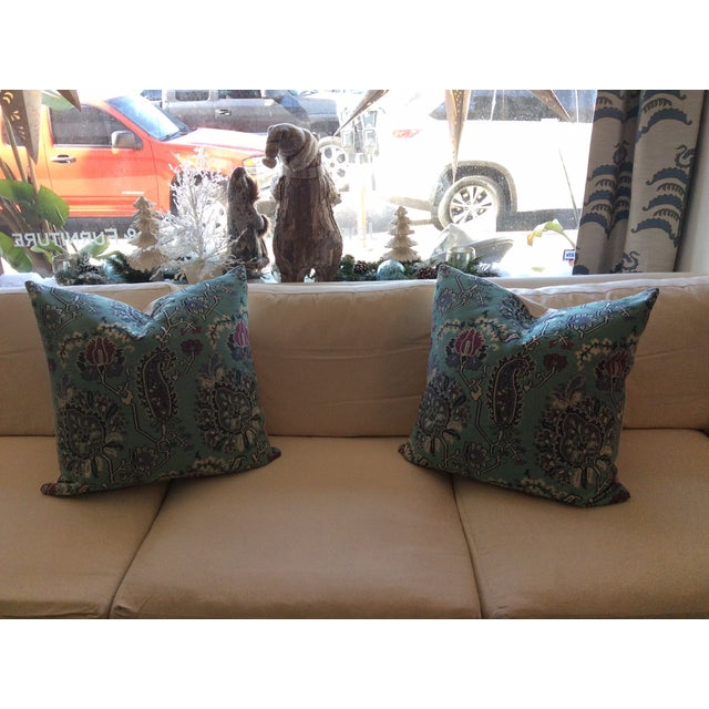 Turquoise & Pink Floral Pillows - A Pair - Image 5 of 5