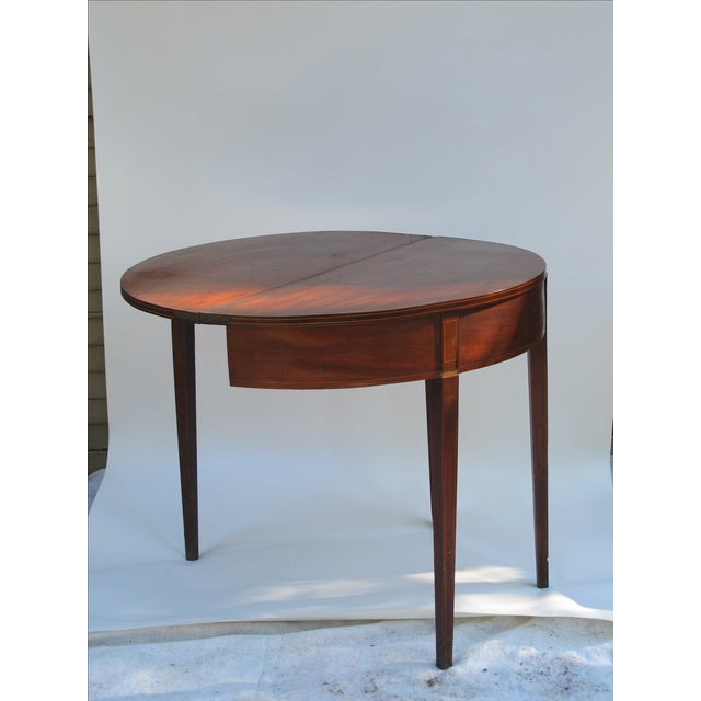 Sheraton-Style Demilune Rosewood Game Table - Image 7 of 11