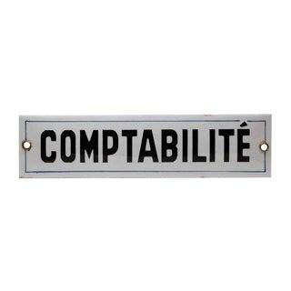 Enamel Comptabilite Sign