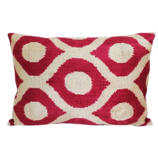 Red & Beige Silk Velvet Ikat Accent Pillow
