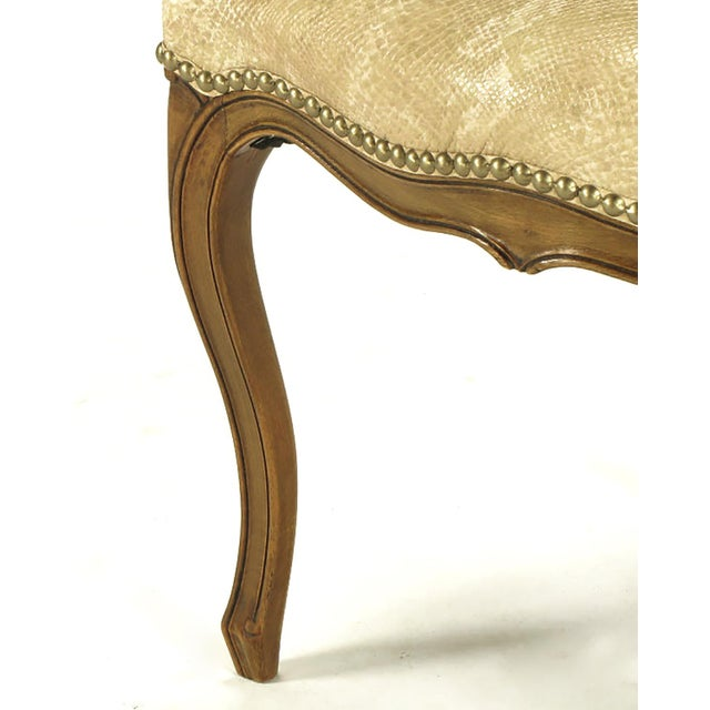 Image of Pair of Walnut Louis XV Style Armchairs in Faux Python