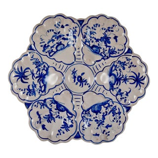French Faïence Delft-Style Blue & White Oyster Plate