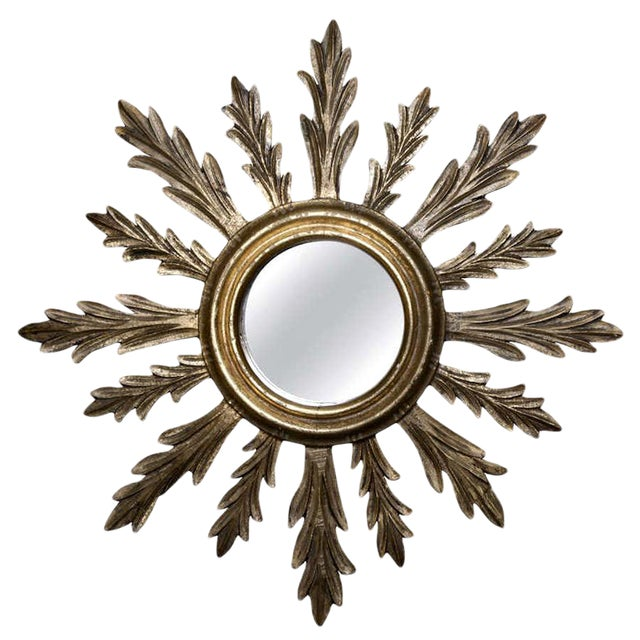 French Mid-Century Carved Giltwood Sunburst Mirror - Image 1 of 3