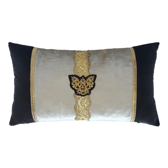 Classic Crest And Passamenterie Trim Pillow - Image 1 of 3