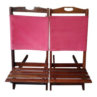 Vintage Teak Folding Canvas Chairs - A Pair