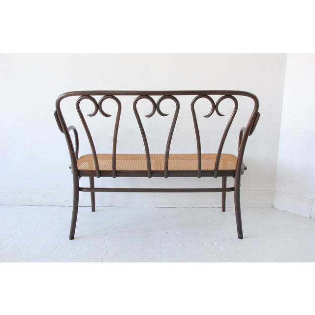 Image of Vintage Bentwood & Cane Bench