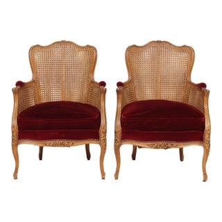 Louis XV 1920s Velvet and Cane Bergeres - A Pair