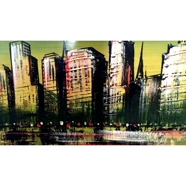 """Image of """"Skyscrapers"""" Acrylic on Board Painting"""