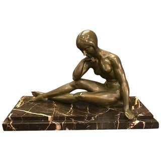 Signed French Art Deco Bronze Sculpture of Nude Seated Female