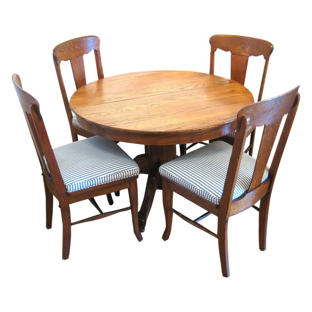 Round Claw Foot Oak Dining Set - Image 1 of 6