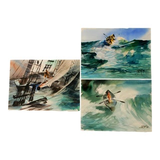 Seascape Watercolor Paintings - Set of 3
