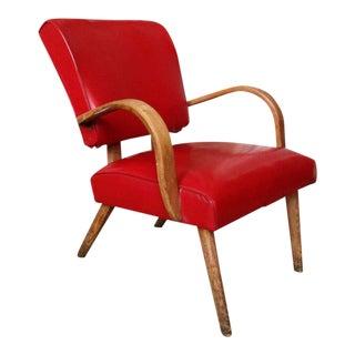 American 1950s Red Vinyl Armchair