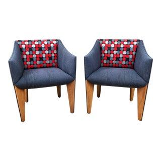 Mid-Century Modern Fin Leg Lounge Chairs - A Pair