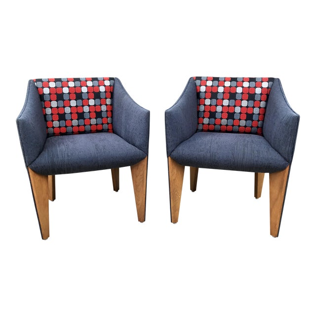 Image of Mid-Century Modern Fin Leg Lounge Chairs - A Pair