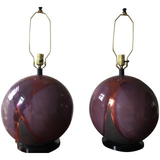 Maroon With Oxidized Glaze Ceramic Lamps - Pair