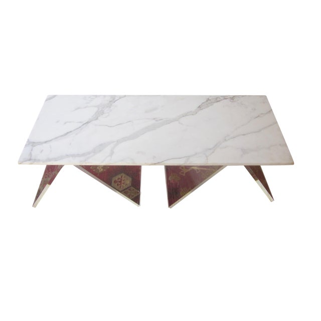 Italian Lucite & Marble Coffee Table - Image 1 of 11