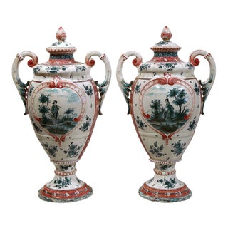 Pair of 19th Century French Louis XV Hand-Painted Faience Vases With Lids From Provence