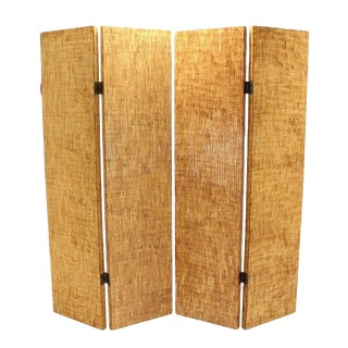 Figural Burnt Bamboo Large Folding Screen Room Divider