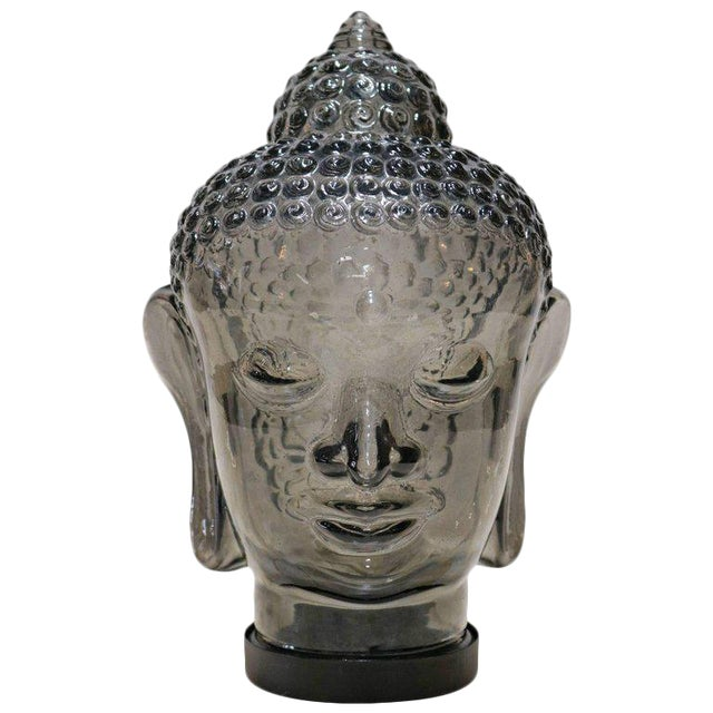 Smoked Glass Buddha Head Sculpture - Image 1 of 7