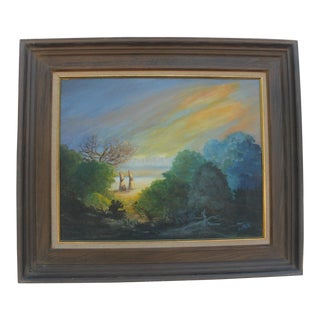 Beth K Vintage Abstract Oil on Canvas Landscape Painting