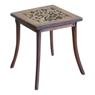 Circa 1900 Hand Carved Arts & Crafts Oak Plant Stand Table