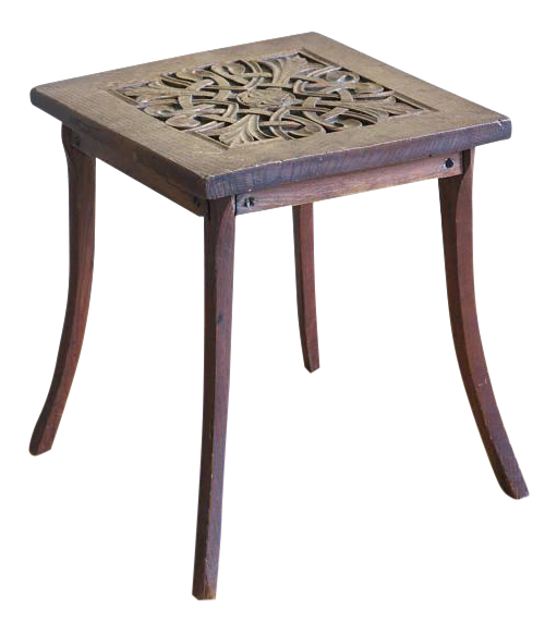 Circa 1900 Hand Carved Arts U0026 Crafts Oak Plant Stand Table   Image 1 ...
