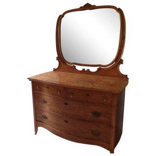 Birds Eye Maple Dresser Chest with Mirror