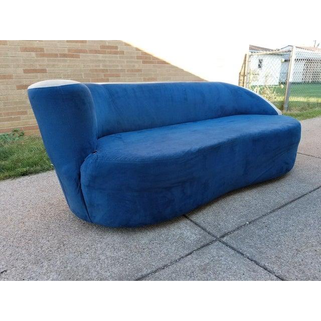 Vladimir Kagan for Directional Nautilus Sofa in Blue Velvet - Image 9 of 11