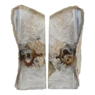 White & Brown Agate Bookends - A Pair
