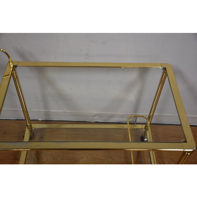 Hollywood Regency Brass Bar Cart - Image 6 of 11