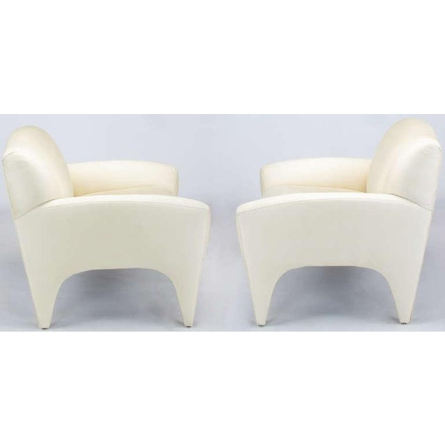 Pair Vladimir Kagan Lounge Chairs In Ivory Silk - Image 3 of 9