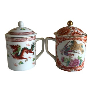 Asian Porcelain Lidded Cups or Mugs - a Pair