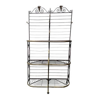 19th C. Antique French Iron & Brass Baker's Rack