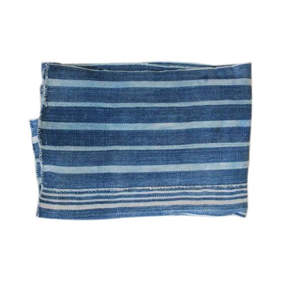 Image of Vintage African Indigo Striped Throw