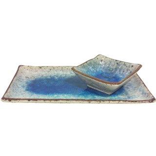 Japanese Blue Glazed Dishes - Pair