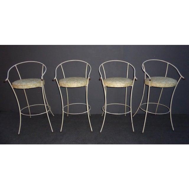 Vintage Mid-Century Modern White Wrought Iron Bar Stools- Set of 4 - Image 4 of 11
