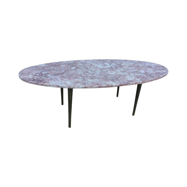 Vintage Oval Coffee Tables: Vintage 1960's Pink Marble Oval Coffee Table