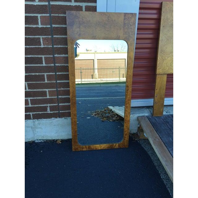 Milo Baughman for Lane Burled Olive Wood Mirror - Image 4 of 4