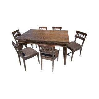 Charles Dudoyt Cerused Oak Dining Set