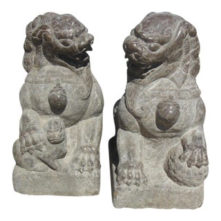Chinese Gray Stone Guardian Lions - A Pair