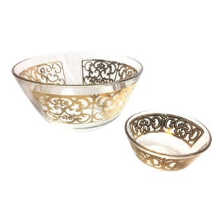 Mid-Century Georges Briard Glass Chip & Dip Bowls - A Pair