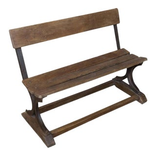 Anglo-Indian 1920s Small Wood and Iron Bench