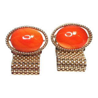 Swank Orange Glass & Mesh Cuff Links