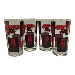 Black, Red & Gold Highball Glasses - Set of 4