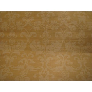 Schumacher Grasscloth Wallpaper Beau Damasse in Beige Double Roll