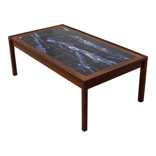Large Danish Modern Coffee Table in Rosewood with White & Blue Tile Top