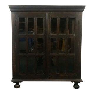 Vintage Carved Oak Glass Door Cabinet